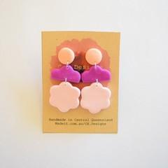 Beige/purple/pink 3 piece polymer clay earrings