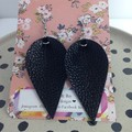 Faux leather black earrings