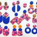 ROWDY - Hot Pink + Electric Blue Stud-Drop Dangles (i)