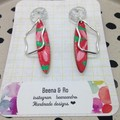Handpainted green/red/pink earrings with mirror acrylic tops
