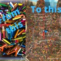 Coloured pencil guitar wall clock