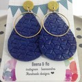 Faux leather blue with alloy circle earriings