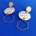 Triple layer sprinkle/bronze hexagon earrings