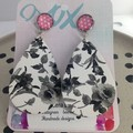 Faux leather white & black floral  earriings