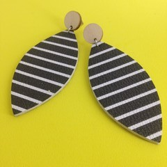 Faux leather black with white stripes   earriings