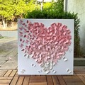2 Wall Art Set of 2  - Ombre shades of butterflies heart in shades