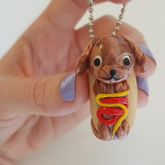 Polymer clay Hot dog keyring / bag decoration