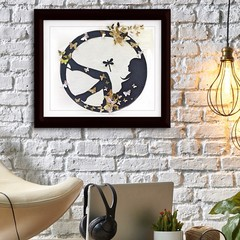 Paper ART Silhouette design in black and Gold  butterflies Wall Art