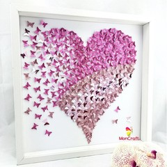 Pink Heart in 3D paper butterflies l art
