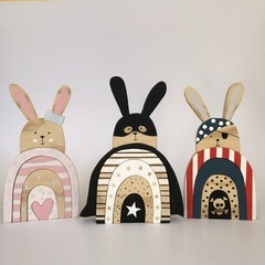 Handmade Wooden Rabbit Stacker.