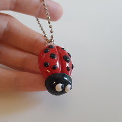 Polymer clay Ladybug - Lady Beetle keyring / bag charm