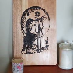 Wood burnt Nightmare Before Christmas Cutting Board