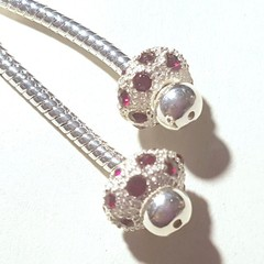 Pandora style Earrings dangle  silver and ruby red Pave crystal Stand out in the