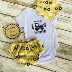 """Future Little Farmer"" Onesie Set Baby Boy Custom Order for Caitlin"