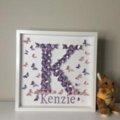 Personalised Alphabet & name in Butterflies nursery letter wall art.