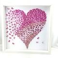 Pink Heart in 3D paper butterflies l art