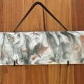 Abstract art resin wood and metal hanging shelf