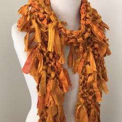 Skinny golden orange scarf, recycled silk scarf, hand knitted silk chiffon scarf