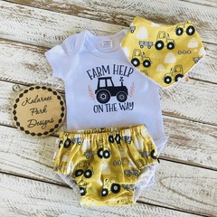 """Farm Help on the Way"" Onesie Set Baby"