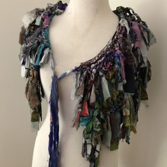 Multicolor collar scarf, soft recycled silk scarf capelet, hand knitted silk sca