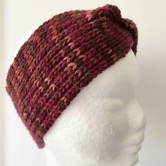 Headband Earwarmer, Child-Adult, FREE POST ,  Wool,  Burgundy Red, Hand Knit