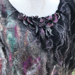 Women's L Tunic Top, Nuno Felted Top, Australian Wool, Hand processed, Handmade,