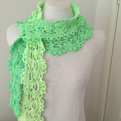 Clearance Green Cotton scarf, hand crocheted cotton scarf, Queen Anne Lace patte