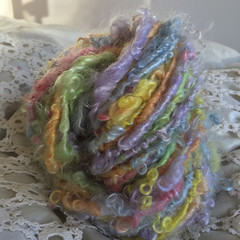 Pastel soft Handspun yarn, kid mohair locks 107 grams