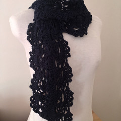 Cotton Bamboo scarf, hand crocheted scarf, Queen Anne Lace pattern, dark navy