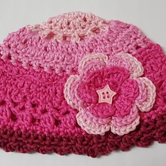 Crocheted cotton girl's hats