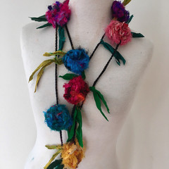 Silk flower necklace, Recycled silk rose garland, hand crocheted, boho floral ne