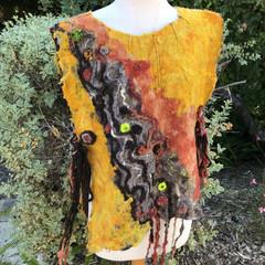 Poncho, Nuno Felted Top, Wool Vest, Australian Wool, Ultrafine Merino Wool, Hand