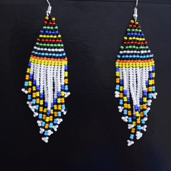 White & Multi Color Beaded Earrings| Earrings  for Women | Eunique Gift For Her