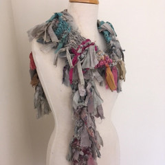 Grey pink blue silk scarf, skinny scarf, recycled silk scarf, hand knitted silk