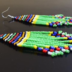 Green & Multi Color Beaded Earrings| Earrings  for Women | Eunique Gift For Her