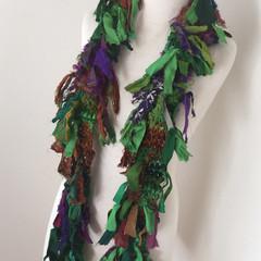 Green silk scarf, skinny scarf, recycled silk scarf, hand knitted silk scarf