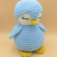 Penguin stuffed toy - crochet handmade - blue white