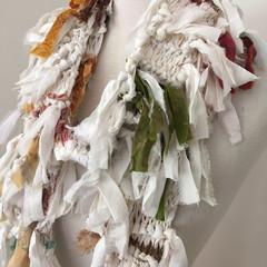 White silk scarf, skinny scarf, recycled silk scarf, hand knitted silk scarf, bo
