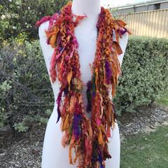 Multicolor skinny scarf, recycled silk scarf, hand knitted silk chiffon scarf, b