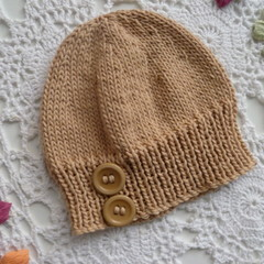 Baby beanie with button detail to fit newborn, natural undyed 4-ply cotton