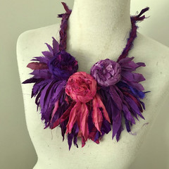 Silk flower necklace, Recycled silk rose garland, hand crocheted, boho floral