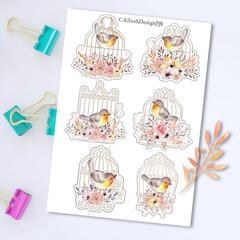 Birdcage Florals Embellishments Printable