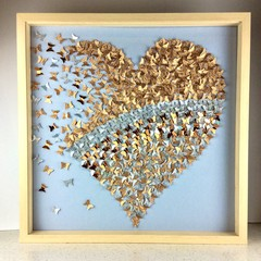 Wedding Gift Gold heart in 3d  butterflies