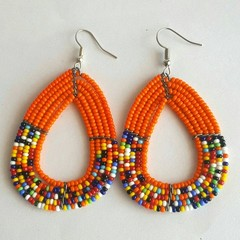 Orange & Multi Color Beaded Earrings| Earrings  for Women | Eunique Gift For Her