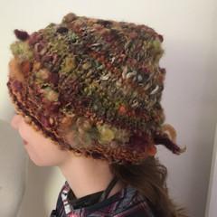 handspun handknit autumn tones beanie, woman/man hand knit