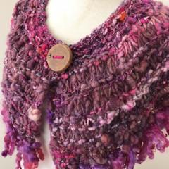 Plum pink berry Capelet, mini wrap, Hand Spun, Hand Knit, Scarf, collar, merino,