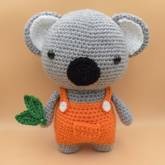 Milly the Koala with eucalyptus leaves - orange - stuffed crochet toy animal