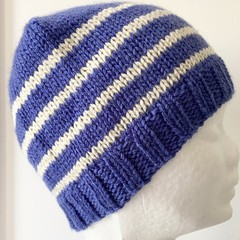 Child Teen Adult Beanie Hat, FREE POST ,  Wool,  Blue , Cream, Hand Knit