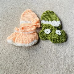 Newborn beanie and bootie set