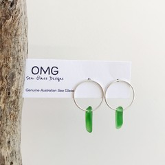 Sea glass hoop stud earrings